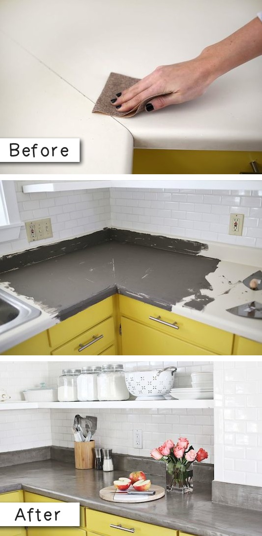 15.-Update-laminate-countertops-with-a-concrete-finish.-14.-Use-Rust-Oleum-to-paint-outdated-brass-faucets-and-fixtures-27-Easy-Remodeling-Projects-That-Will-Completely-Transform-Your-Home-