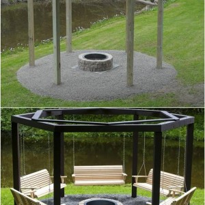 Diy Backyard Fire Pit With Swing Seats Thumb2 2 Sycamore